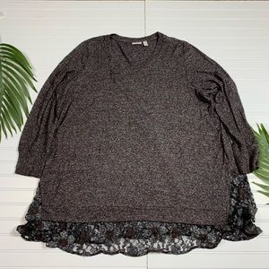 LOGO Brushed Tunic Sweater w/ Lace 3X